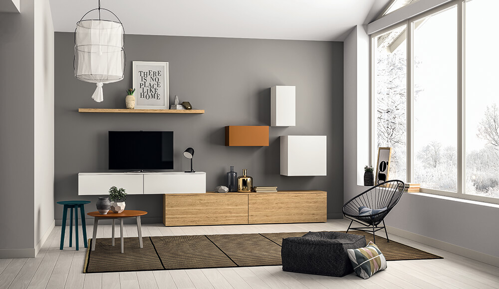 meuble tv original suspendu bois blanc